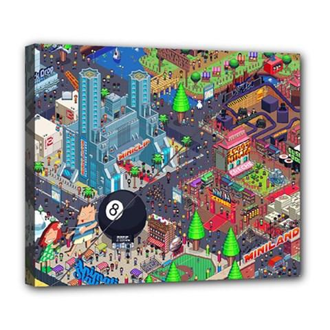 Pixel Art City Deluxe Canvas 24  x 20