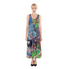 Pixel Art City Sleeveless Maxi Dress