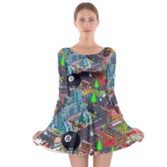 Pixel Art City Long Sleeve Skater Dress