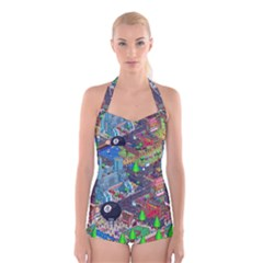 Pixel Art City Boyleg Halter Swimsuit