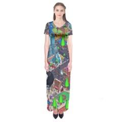 Pixel Art City Short Sleeve Maxi Dress