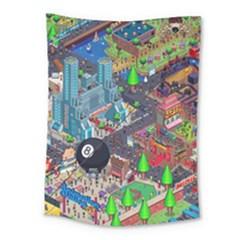 Pixel Art City Medium Tapestry