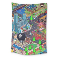 Pixel Art City Large Tapestry