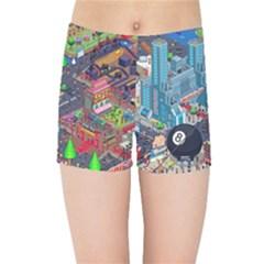 Pixel Art City Kids Sports Shorts
