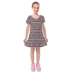 Aztec Pattern Patterns Kids  Short Sleeve Velvet Dress