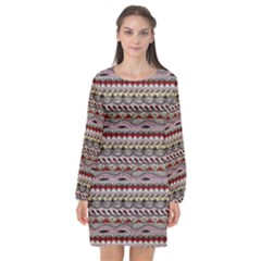Aztec Pattern Patterns Long Sleeve Chiffon Shift Dress