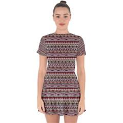 Aztec Pattern Patterns Drop Hem Mini Chiffon Dress
