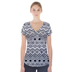 Aztec Design  Pattern Short Sleeve Front Detail Top