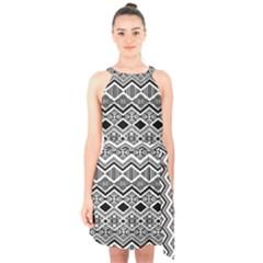 Aztec Design  Pattern Halter Collar Waist Tie Chiffon Dress