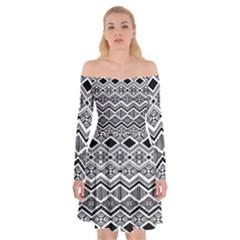 Aztec Design  Pattern Off Shoulder Skater Dress