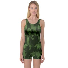 Camouflage Green Army Texture One Piece Boyleg Swimsuit