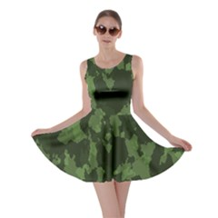 Camouflage Green Army Texture Skater Dress