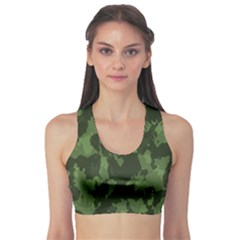 Camouflage Green Army Texture Sports Bra