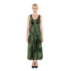 Camouflage Green Army Texture Sleeveless Maxi Dress
