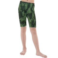 Camouflage Green Army Texture Kids  Mid Length Swim Shorts