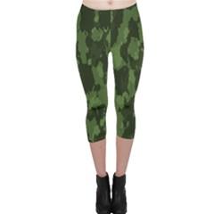 Camouflage Green Army Texture Capri Leggings