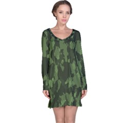Camouflage Green Army Texture Long Sleeve Nightdress