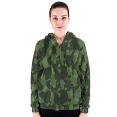 Camouflage Green Army Texture Women s Zipper Hoodie