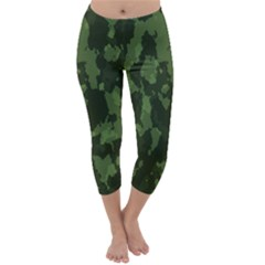Camouflage Green Army Texture Capri Winter Leggings
