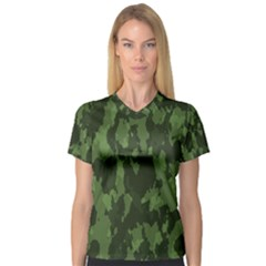 Camouflage Green Army Texture Women s V Neck Sport Mesh Tee