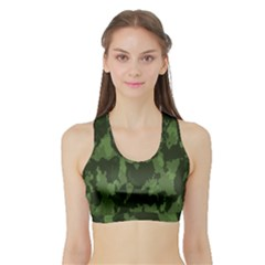 Camouflage Green Army Texture Sports Bra With Border