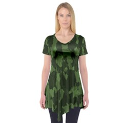 Camouflage Green Army Texture Short Sleeve Tunic