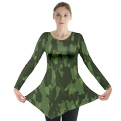 Camouflage Green Army Texture Long Sleeve Tunic
