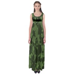 Camouflage Green Army Texture Empire Waist Maxi Dress