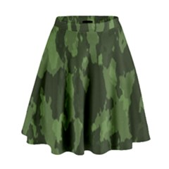 Camouflage Green Army Texture High Waist Skirt