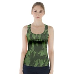 Camouflage Green Army Texture Racer Back Sports Top