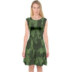 Camouflage Green Army Texture Capsleeve Midi Dress