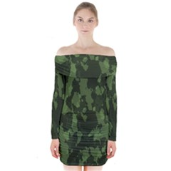 Camouflage Green Army Texture Long Sleeve Off Shoulder Dress