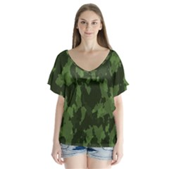 Camouflage Green Army Texture Flutter Sleeve Top