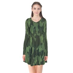 Camouflage Green Army Texture Flare Dress