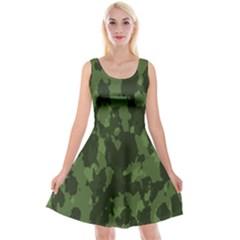 Camouflage Green Army Texture Reversible Velvet Sleeveless Dress