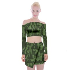 Camouflage Green Army Texture Off Shoulder Top With Skirt Set