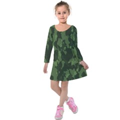 Camouflage Green Army Texture Kids  Long Sleeve Velvet Dress