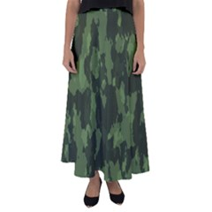 Camouflage Green Army Texture Flared Maxi Skirt