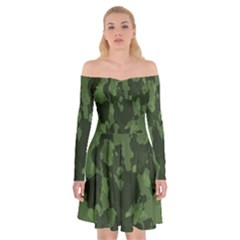 Camouflage Green Army Texture Off Shoulder Skater Dress