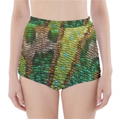 Chameleon Skin Texture High Waisted Bikini Bottoms