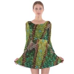 Chameleon Skin Texture Long Sleeve Velvet Skater Dress