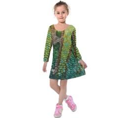 Chameleon Skin Texture Kids  Long Sleeve Velvet Dress