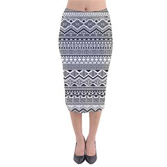 Aztec Pattern Design Velvet Midi Pencil Skirt