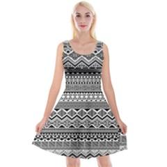 Aztec Pattern Design Reversible Velvet Sleeveless Dress