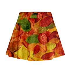 Leaves Texture Mini Flare Skirt