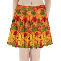 Leaves Texture Pleated Mini Skirt
