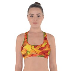 Leaves Texture Cross Back Sports Bra