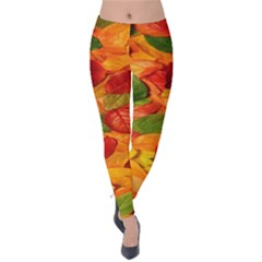Leaves Texture Velvet Leggings