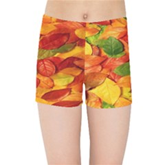 Leaves Texture Kids Sports Shorts