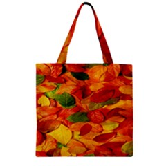 Leaves Texture Zipper Grocery Tote Bag